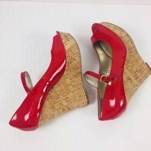 Guess Shoes - Guess Red Cork Platform Sandals Sz 8.5